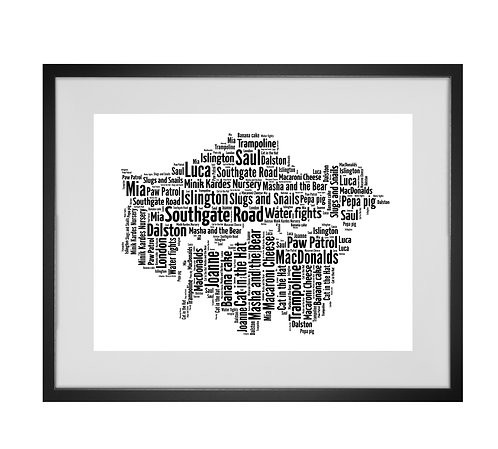 Personalised Word Art Gifts, Unique Keepsake gifts,  Gifts for her, Gifts for him, Map prints, hometown print, London Map