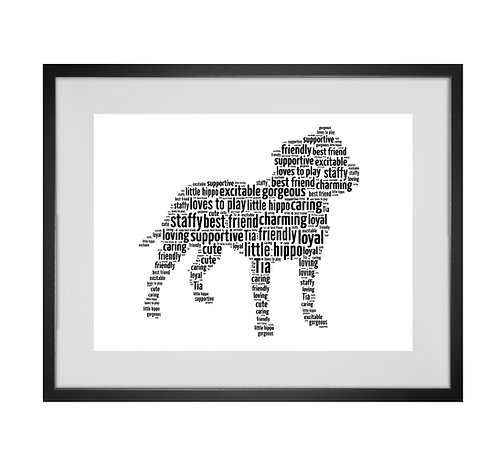 Staffy, Staffie, Personalised Word Art Gifts, Unique Keepsake gifts, Dog Word Art, Dog Lover, pet prints, pet memorials,