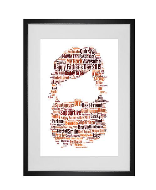 Personalised Word Art Gifts, Unique Keepsake gifts, personalised Letter Art, Fathers Day Gifts, Hipster Dad Daddy presents