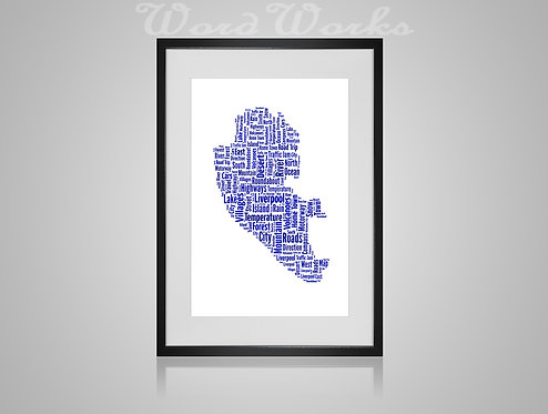 Personalised Word Art Gifts, Unique Keepsake gifts,  Gifts for her, Gifts for him, Map prints, hometown print, Liverpool Map