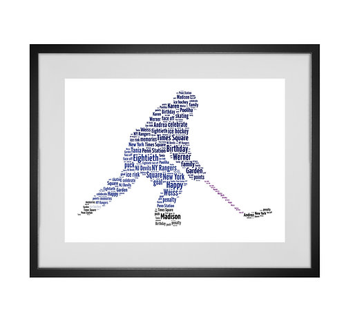 Personalised Word Art Gifts, Unique Keepsake gifts, Gifts for him, sports gifts, Ice Hockey Player, Ice Hockey Print Design