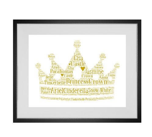 Personalised Word Art Gifts, Unique Keepsake gifts, personalised Letter Art, Gifts for Girls, Princess Crown Gifts, Xmas