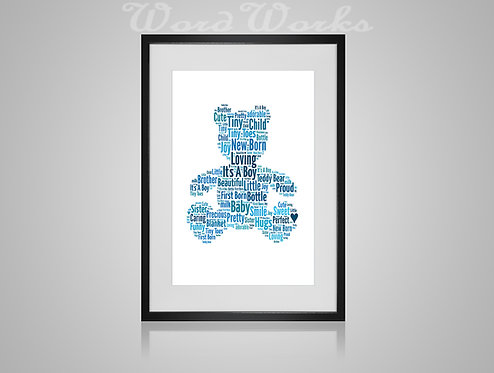 Personalised Word Art Gifts, Unique Keepsake gifts, New Born gift, New Borns room decor, baby boy Teddybear, gifts for kids