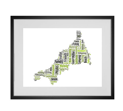 Personalised Word Art Gifts, Unique Keepsake gifts,  Gifts for her, Gifts for him, Map prints, hometown print, Cornwall Map