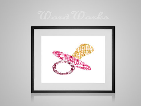 Personalised Word Art Gifts, Unique Keepsake gifts, New Born gift, New Borns room decor, baby girl dummy, gifts for kids