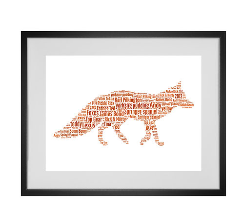 Fox Personalised Word Art Gifts, Unique Keepsake gifts, Woodland themed, gifts for her, Foxy print, animal prints