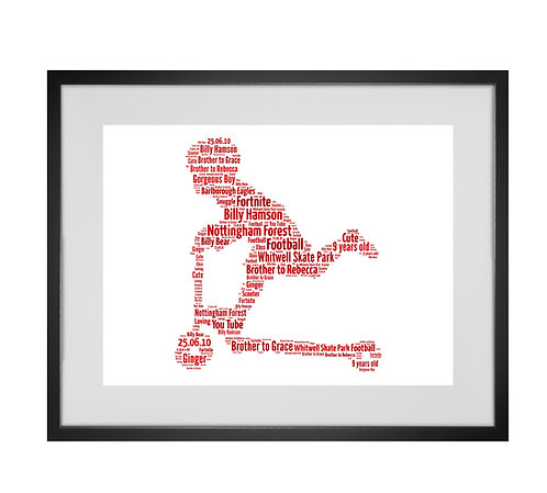 Personalised Word Art Gifts, Unique Keepsake gifts, gift for kids, gifts for boys, custom stunt scooter print, micro scooter