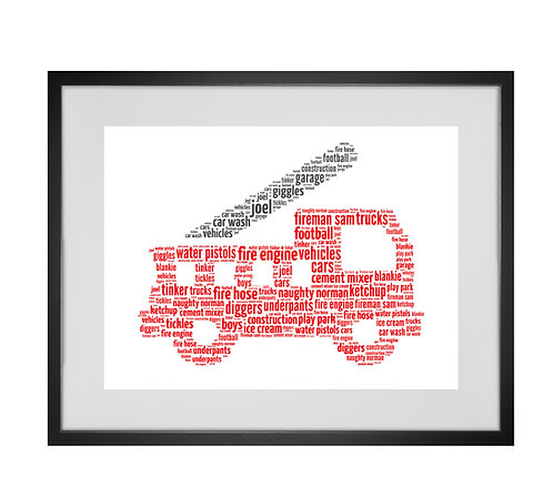 Personalised Word Art Gifts, Unique Keepsake gifts, Gifts for her, Gifts for him, gifts for kids, fire engine print,