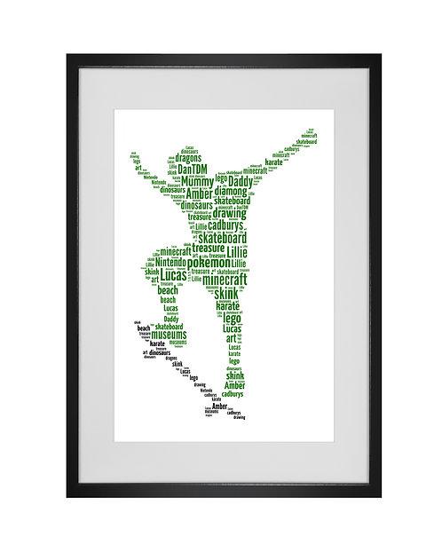 Personalised Word Art Gifts, Unique Keepsake gifts, Gifts for him, sports gifts, gifts for kids, Skateboard Skateboarding art