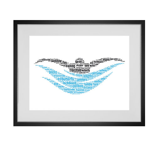 Personalised Word Art Gifts, Unique Keepsake gifts, sports gifts, Swim, Swimmer, Print Art, design