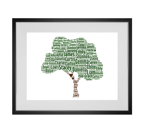 Personalised Word Art Print Gifts, Unique Keepsake gifts, Mothers Day, gifts for mum mummy, personalised Family Tree print
