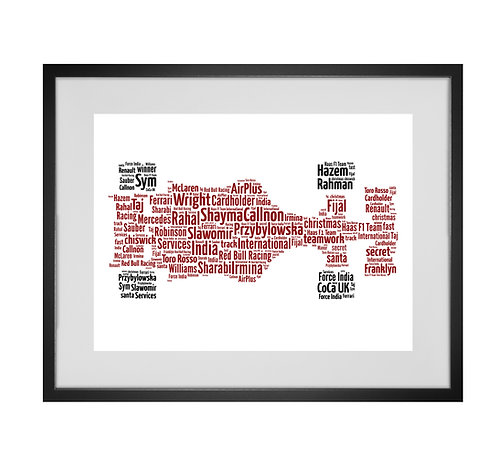 Personalised Word Art Gifts, Unique Keepsake gifts,  father's Day gift, Gifts for him, Formula 1, F1, car racing, motosport