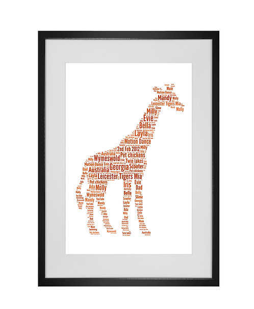 Giraffe Personalised Word Art Gifts, Unique Keepsake gifts, Zoo animals, giraffe print, animal lover gifts,