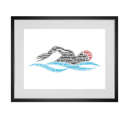 Personalised Word Art Gifts, Unique Keepsake gifts, sports gifts, Swim, Swimmer Print Art Design