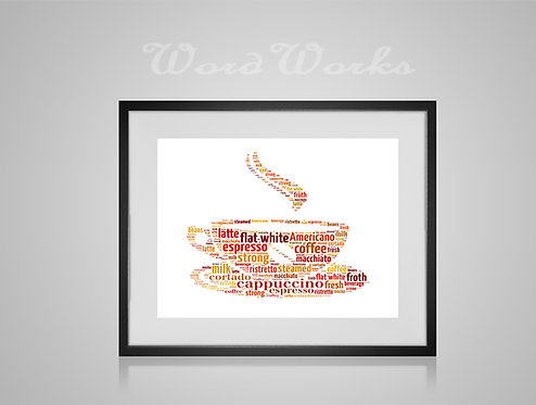 Personalised Word Art Gifts, Unique Keepsake gifts, Barista Gifts, Word Cloud print, Home Decor, Coffee Cup Print,