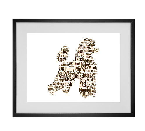 Poodle, Personalised Word Art Gifts, Unique Keepsake gifts, Dog Word Art, Dog Lover, pet prints, pet memorials,