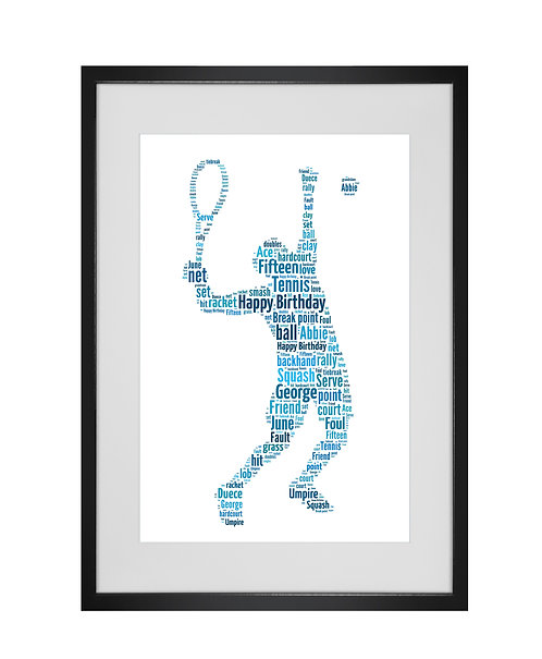 Personalised word art, personalised gifts, sporting gifts, Tennis player, gifts for tennis fans, tennis gifts, Wimbledon