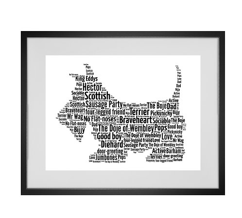 Scotty Dog, Personalised Word Art Gifts, Unique Keepsake gifts, Dog Word Art, Dog Lover, pet prints, pet memorials,