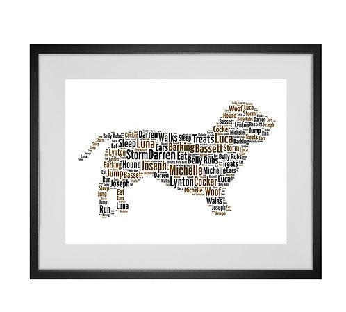 Basset Hound, Personalised Word Art Gifts, Unique Keepsake gifts, Dog Word Art, Dog Lover, pet prints, pet memorials,