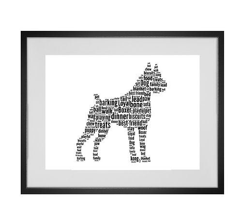Boxer Dog Personalised Word Art Gifts, Unique Keepsake gifts, Dog Word Art, Dog Lover, pet prints, pet memorials,