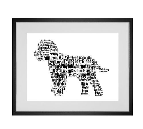 Cockapoo, Cavapoo, Personalised Word Art Gifts, Unique Keepsake gifts, Dog Word Art, Dog Lover, pet prints, pet memorials,