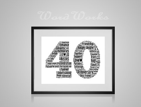 Personalised Word Art Gifts, Unique Keepsake gifts, personalised Wedding Anniversary present, Gift for her, Gift for him