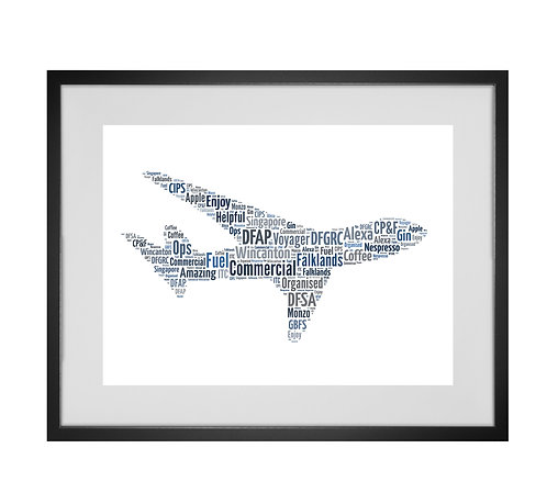 Personalised Word Art Gifts, Unique Keepsake gifts,  Gifts for her, Gifts for him, aeroplane art, pilot gifts, airplane art
