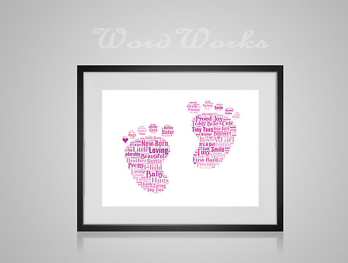 Personalised Word Art Gifts, Unique Keepsake gifts, New Born gift, Nursery decor, baby girl footprint, gifts for kids