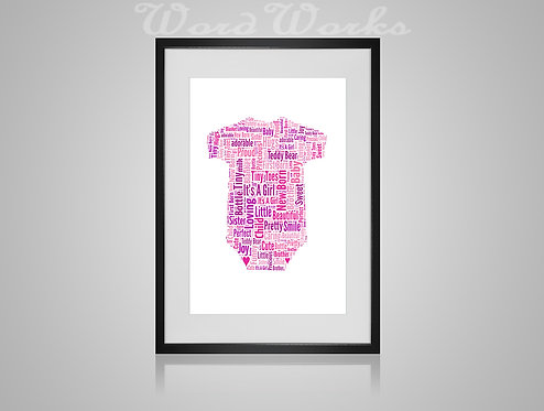 Personalised Word Art Gifts, Unique Keepsake gifts, New Born gift, New Borns room decor, baby girl babygrow, gifts for kids