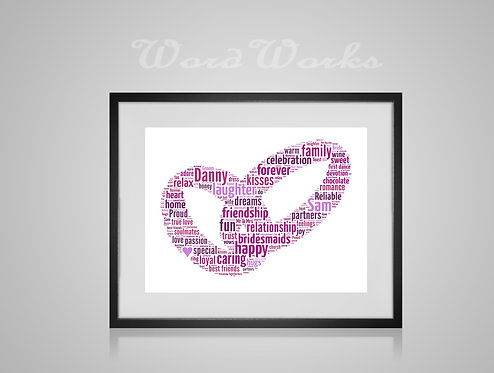 Personalised Word Art Gifts, Unique Keepsake gifts, personalised Wedding Rings print, proposal, Gift for her, Gift for him