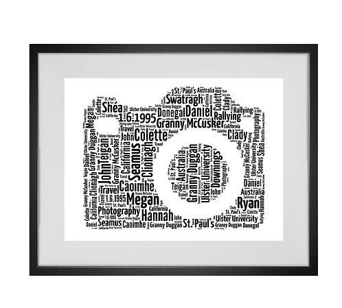 Personalised Word Art Gifts, Unique Keepsake gifts, personalised Letter Art, Fathers Day Gifts, DSLR Print, Camera Word Art