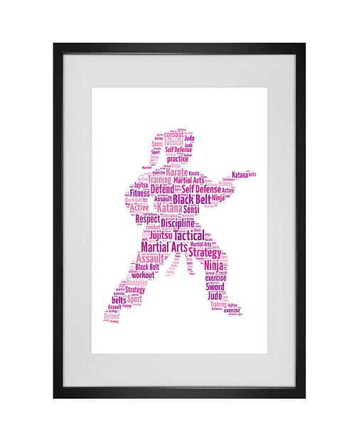 Personalised Word Art Gifts, Unique Keepsake gifts, sports gifts, Girl Martial Arts Karate Jujitsu Judo Taekwondo