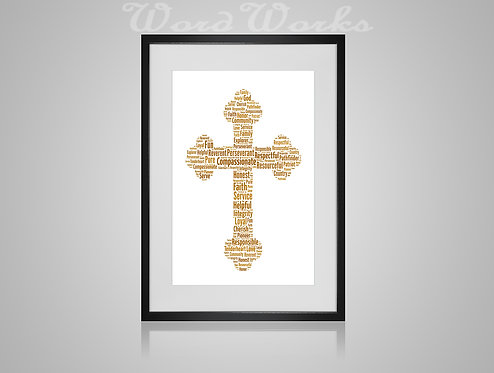 Personalised Word Art Gifts, Unique Keepsake gifts,  Gifts for her, Gifts for him, Christianity Cross, Christening present