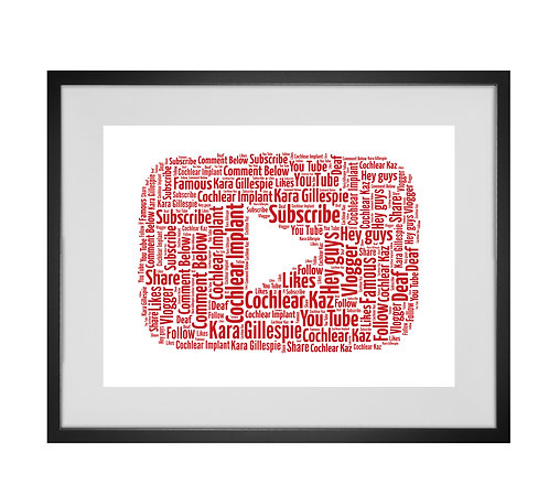 Personalised Word Art Gifts, Unique Keepsake gifts, personalised Letter Art, You Tube, Vlog Print, You Tuber gift