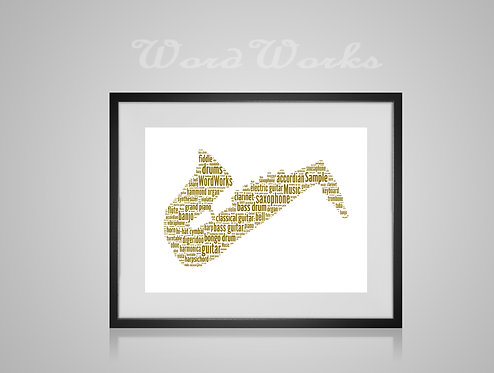 Personalised Word Art Gifts, Unique Keepsake gifts, Musical note print, musician art, Sax player, Saxophone Art, music print