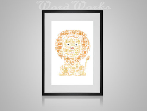 Personalised Word Art Gifts, Unique Keepsake gifts, New Born gift, Baby Nursery decor, Baby Lion, gifts for kids