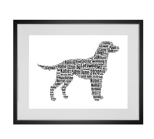 Labrador, Personalised Word Art Gifts, Unique Keepsake gifts, Dog Word Art, Dog Lover, pet prints, pet memorials,