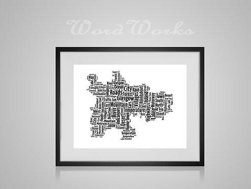 Personalised Word Art Gifts, Unique Keepsake gifts,  Gifts for her, Gifts for him, Map prints, hometown print, Glasgow Map