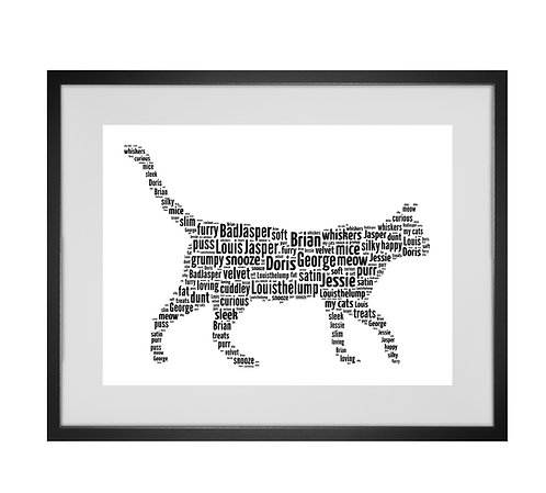 Crazy cat lady, Personalised Word Art Gifts, Unique Keepsake gifts, Cat Word Art, Cat Lover, pet prints, pet memorials,