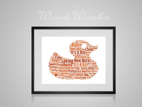 Personalised Word Art Gifts, Unique Keepsake gifts, New Born gift, Nursery decor, Rubber Duck, gifts for kids