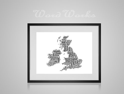 Personalised Word Art Gifts, Unique Keepsake gifts,  Gifts for her, Gifts for him, Map prints, hometown print, UK Engkand Map