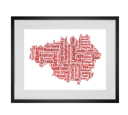 Personalised Word Art Gifts, Unique Keepsake gifts,  Gifts for her, Gifts for him, Map prints, hometown print, Manchester Map