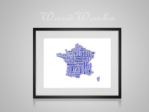 Personalised Word Art Gifts, Unique Keepsake gifts,  Gifts for her, Gifts for him, Map prints, hometown print, France Map