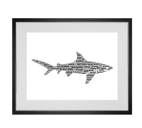 Shark Personalised Word Art Gifts, Unique Keepsake gifts, Ocean theme, Sea theme, shark week
