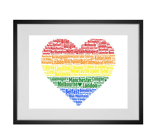 Personalised Word Art Gifts, Unique Keepsake gifts,  Gifts for her, Gifts for him, Pride, Rainbow, Gay, Lesbian, LGBT, heart