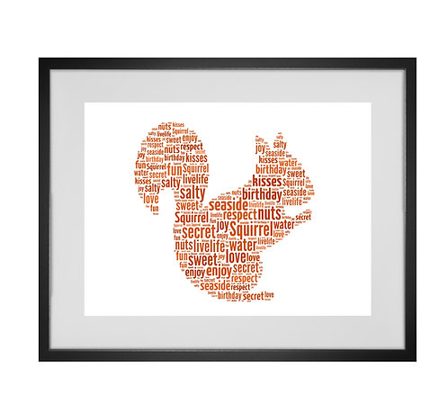 Squirrel Personalised Word Art Gifts, Unique Keepsake gifts, Woodland animal theme, gifts for her