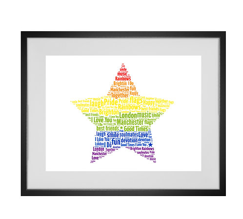 Personalised Word Art Gifts, Unique Keepsake gifts,  Gifts for her, Gifts for him, Pride, Rainbow, Gay, Lesbian, LGBT
