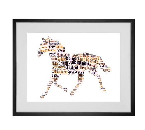 Horse Personalised Word Art Gifts, Unique Keepsake gifts, Horse rider, Horse riding, Show jumper prints, Equine presents