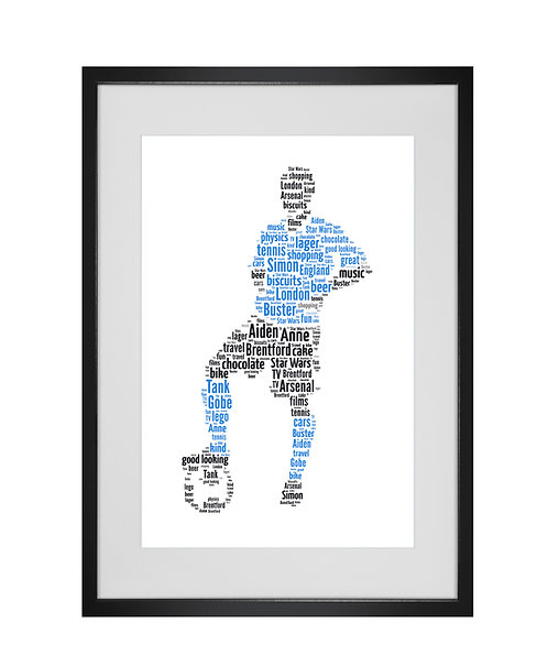 Personalised Football Word Art Gifts, Unique Keepsake gifts, Gifts for him, sports gifts, gifts for kids, Footy Player