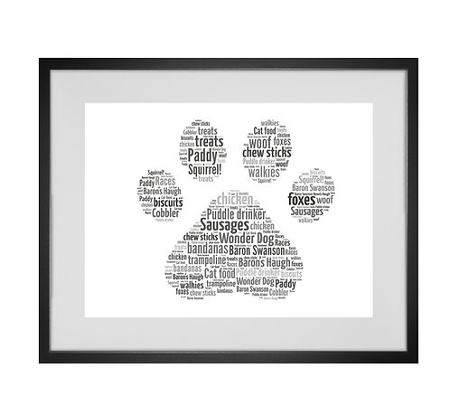 Pet Dog Paw Print Personalised Word Art Gifts, Unique Keepsake gifts, Dog Word Art, Dog Lover, pet prints, pet memorials,